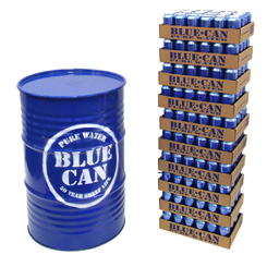 Barrel and Stack of Blue Cans